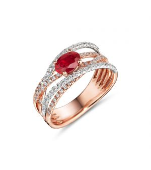 18ct rose gold ruby and diamond ring