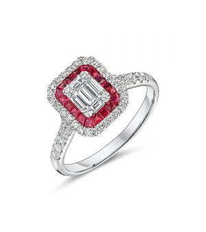 18ct white gold Art Deco style ruby and diamond ring