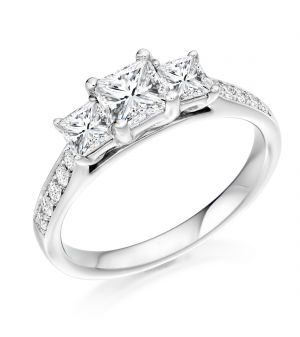 18ct white gold three stone princess cut diamond ring with round brilliant diamond shoulder