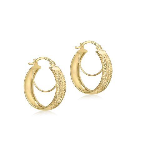 9ct 6MM Diamond Cut Hoop Earring