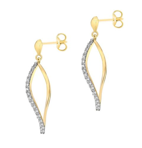 9ct Yellow Gold CZ Figure of Eight Drop Earrings