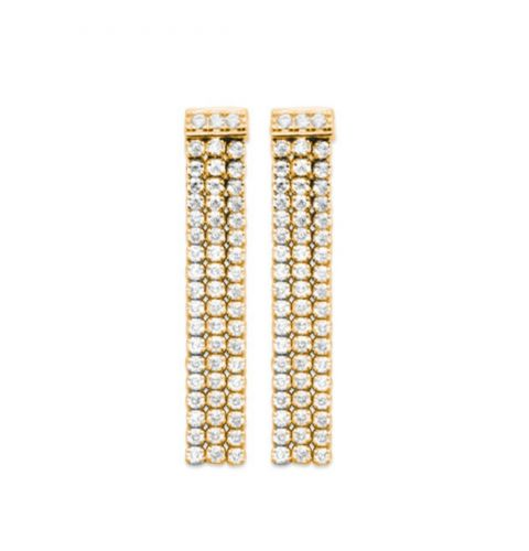 18ct yellow gold microplated multi strand cz drop earrings