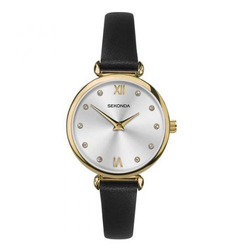 Sekonda Women's Black Leather Strap Fashion Watch