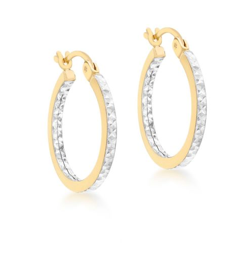 9ct Yellow and White Gold 15mm Diamond Cut Tube Hoop Earrings