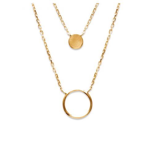 18ct yellow gold microplated double strand circular pendant