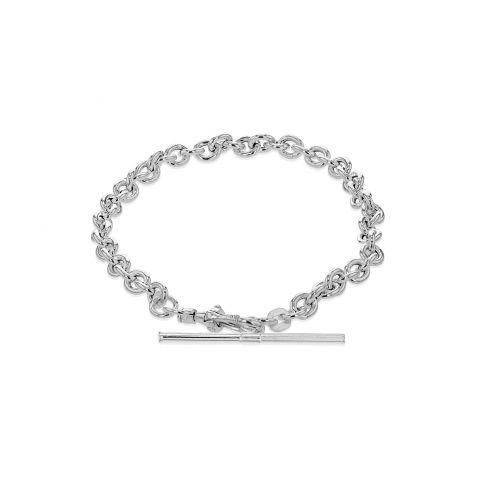 Silver Small Oval Belcher Bracelet with Albert T-Bar