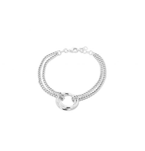 Sterling Silver Two Strand ,Two Ring Bracelet