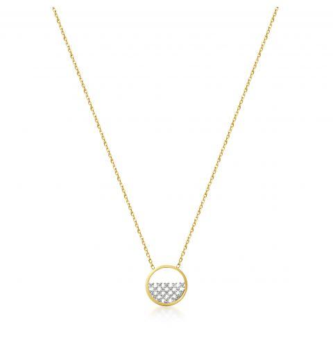 9ct Gold Pavé Set CZ in Circle Pendant