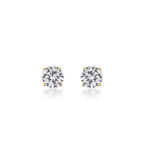 9ct Yellow Gold CZ set Tiffany Style Stud Earring