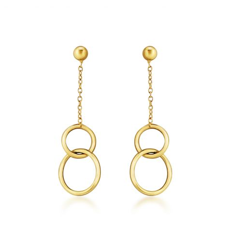 9ct Gold Interlocking Circle Drop Earrings