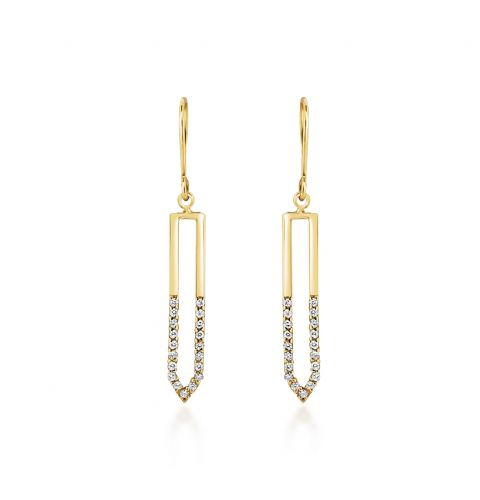 9ct Gold CZ Set Drop Earrings