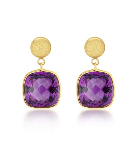 9ct Brushed Yellow Gold Amethyst Earrings