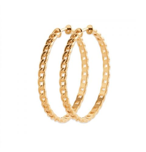 18ct yellow gold microplated large hoop earrings with link