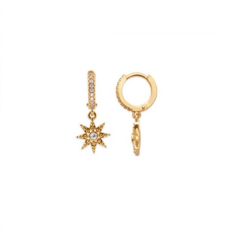 18kt Gold Microplated Small CZ Huggy Earrings with Star Drop