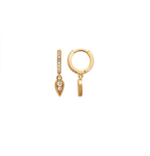 18kt Gold Microplated Small Huggy Earrings with CZ Drop