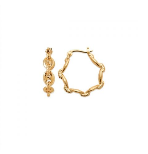 18kt Gold Microplated Marina Chain Link Hoop Earrings