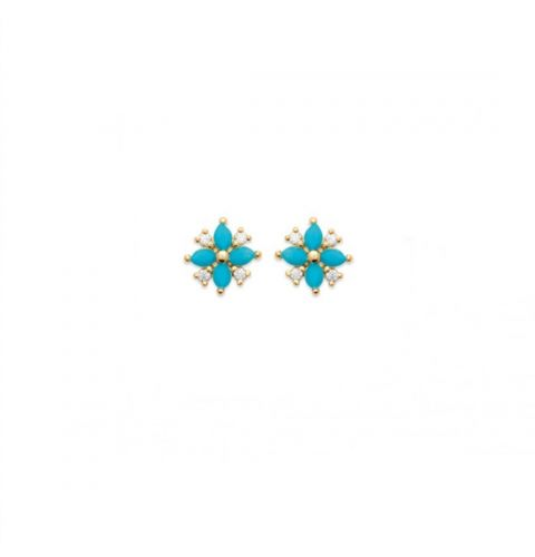18kt Gold Microplated Flower Stud Earrings with Turquoise and CZ