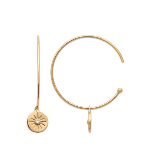 18ct yellow gold microplated hoop earrings with stone set charm