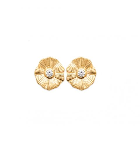 18ct yellow gold microplated flower design cz earrings