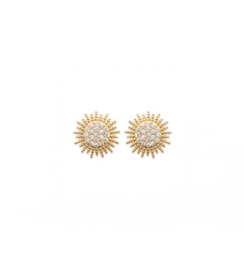 18kt Microplated Gold Sunburst with CZ Stud Earring