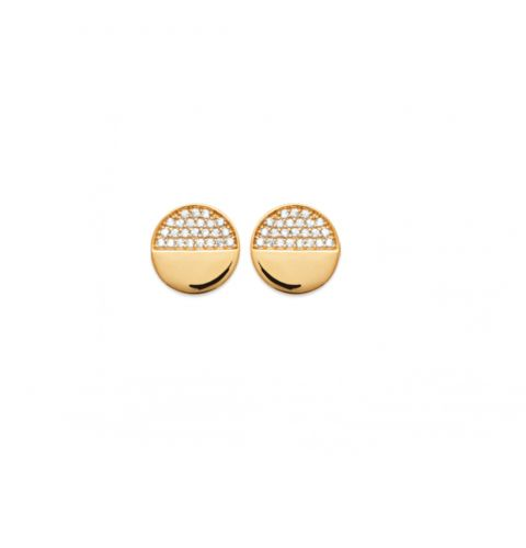 18ct yellow gold microplated cz half set disc stud earrings