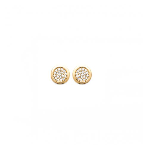 18kt Gold Microplated Stud CZ Pavé Disc Earrings