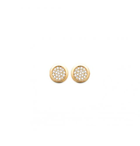 18ct yellow gold microplated pave set cz stud earrings