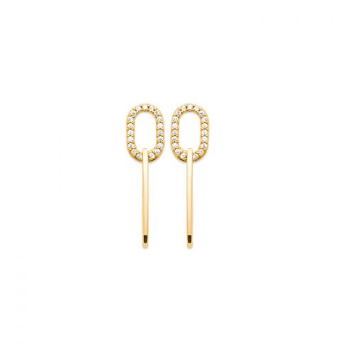 18kt gold microplated earring, cz set oval link earrings