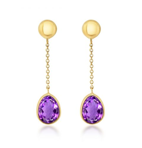 9ct Polished Yellow Gold Amethyst Drop Earrings