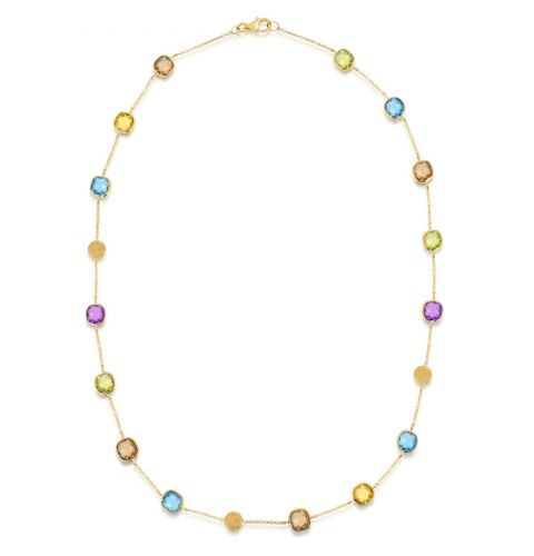 9ct Yellow Gold Amethyst, Citrine, Topaz & Peridot Necklace