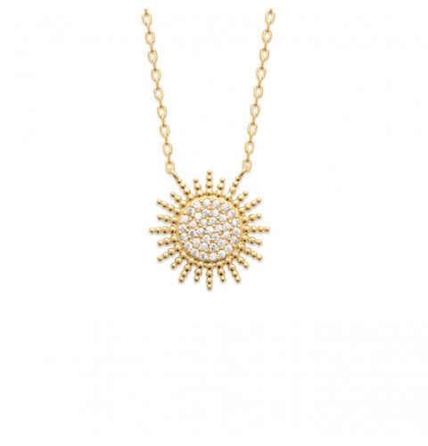 18kt Gold Microplated Sunburst Necklace with CZ