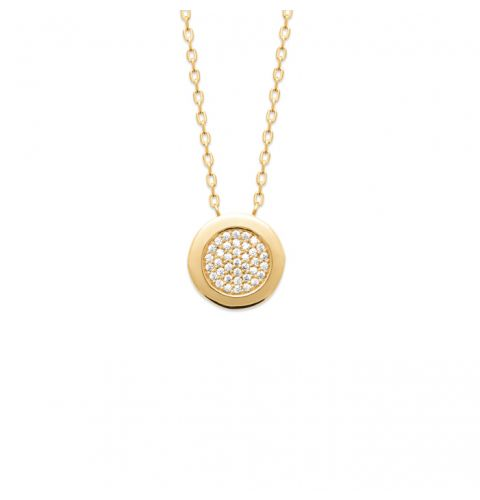 18kt Gold Microplated Necklace  with CZ Pavé Disc