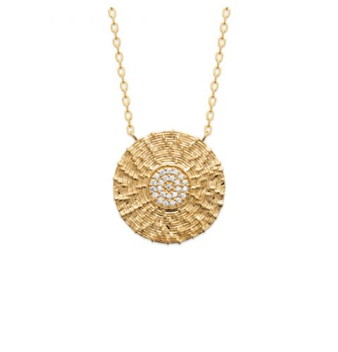 18ct yellow gold microplated ornate cz disc pendant