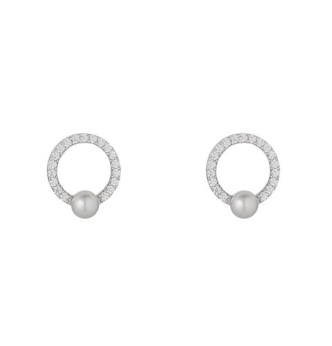 Sterling Silver CZ Circle Stud Earrings with Pearl
