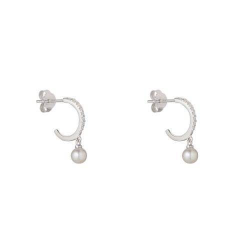 Sterling Silver CZ  Hoop Earrings with Pearl Drop