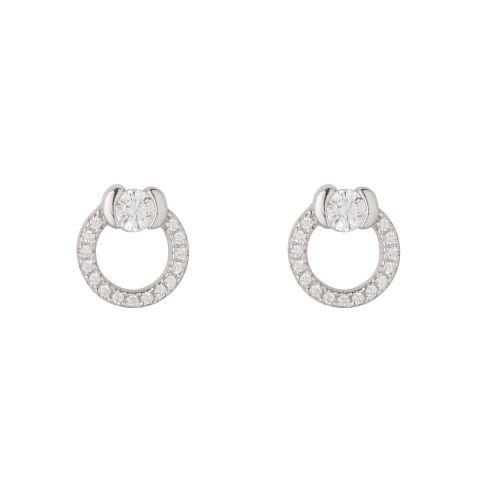 Sterling Silver CZ Circle Stud Earrings