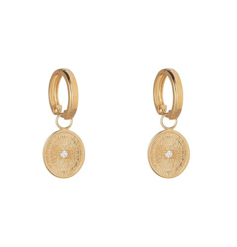 Yellow Gold Microplated Fossil Coin Drop Earring