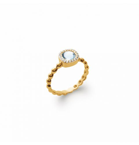 18kt Gold Microplated Ring with Aqua/Cz cluster