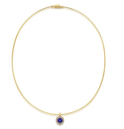 14ct Rose Gold Diamond & Tanzanite Necklace