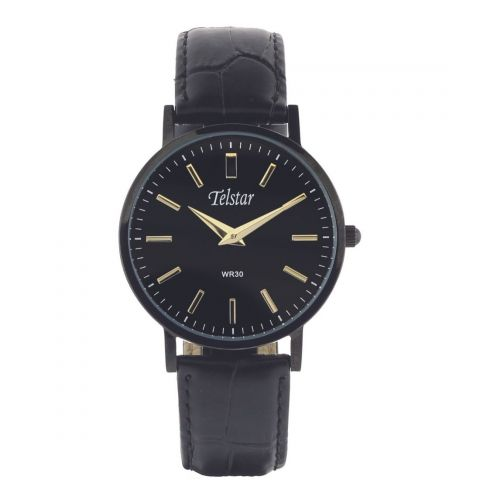 Telstar Mens Classic Black Watch with Black Leather Strap