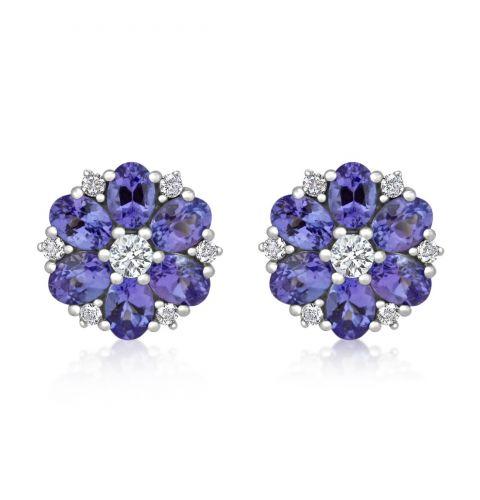 9ct White Gold Diamond & Tanzanite Earrings