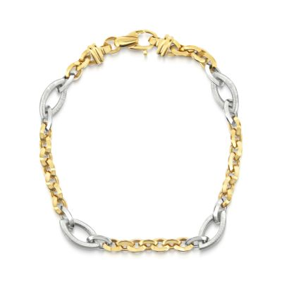 14ct white & yellow gold link bracelet