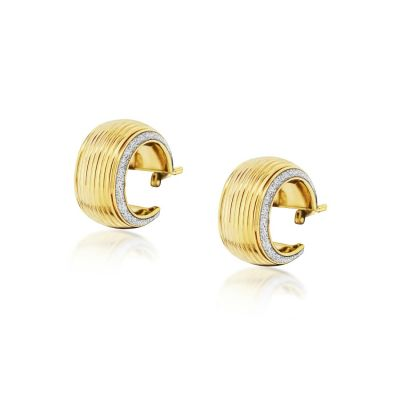 9ct yellow gold ridge edge hoop earrings