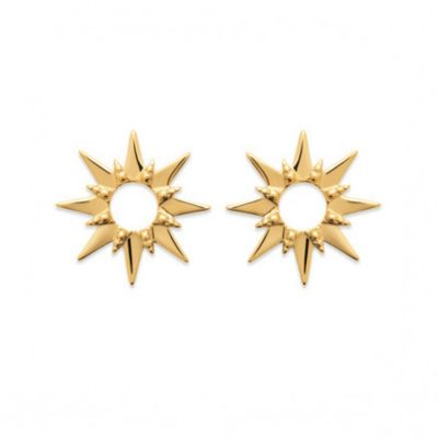 18ct yellow gold microplated open star earrings