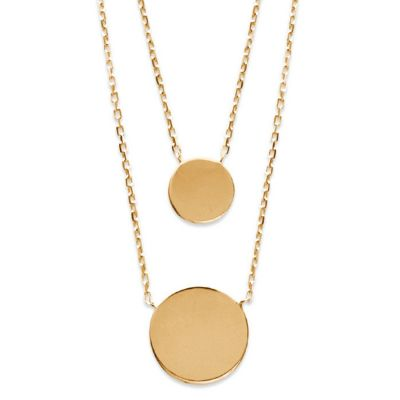 18ct yellow gold microplated double disc pendant