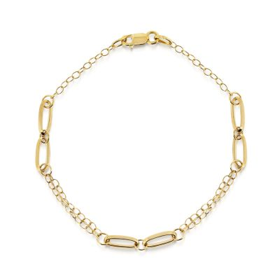 9ct yellow gold oval and belcher link bracelet