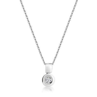 9ct white gold single stone round brilliant rubover pendant