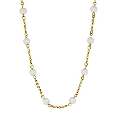 9ct yellow gold belcher link chain with cultured pearls