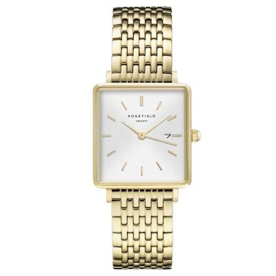 The Boxy White Sunray Steel Gold Ladies Watch by Rosefield