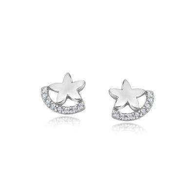 Sterling Silver CZ Set Star Earrings
